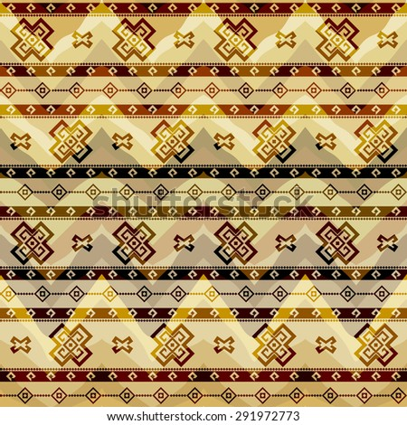 Seamless background pattern. Tribal geometric pattern on chevrons background. - stock vector