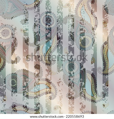 Seamless background pattern. Will tile endlessly. Paisley ornament with grunge stripes - stock vector