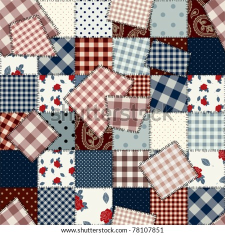 Seamless background pattern. Will tile endlessly. Patchwork with patches, pattern in country style - stock vector