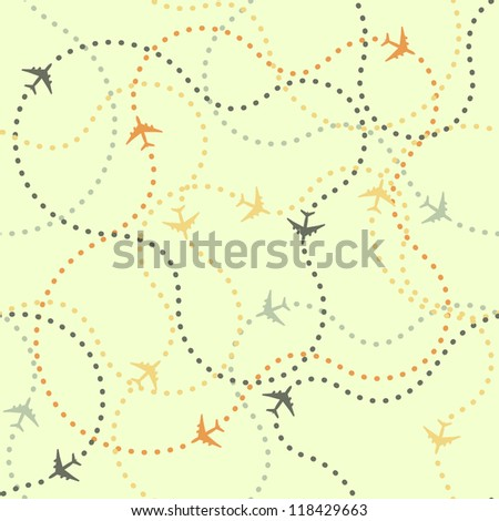 Seamless background pattern with airplane routes. Vector illustration. - stock vector