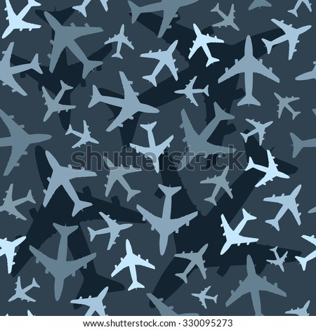 Seamless background pattern with airplanes. Dark blue camouflage version. Vector. - stock vector