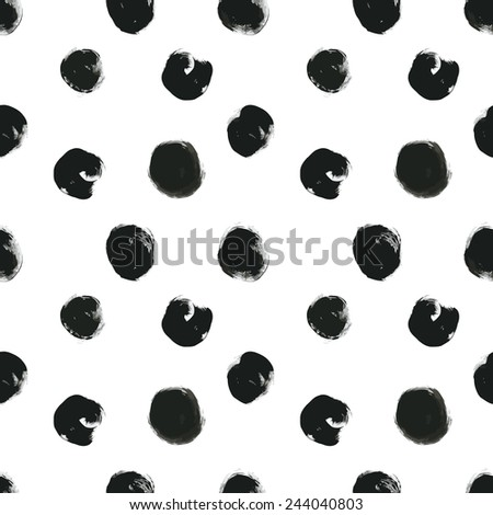 seamless background pattern, with circles and strokes, black and white, grungy - stock vector