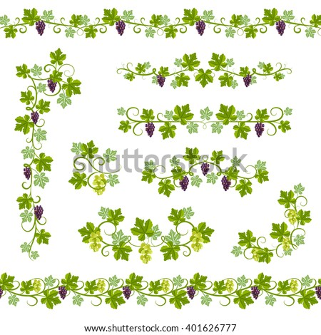 Seamless Background Pattern with vine branches and grape elements vector illustration - stock vector