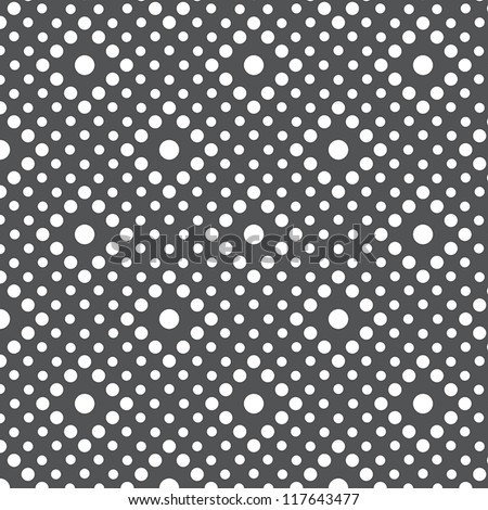 Seamless background pattern with white dots on gray background - stock vector