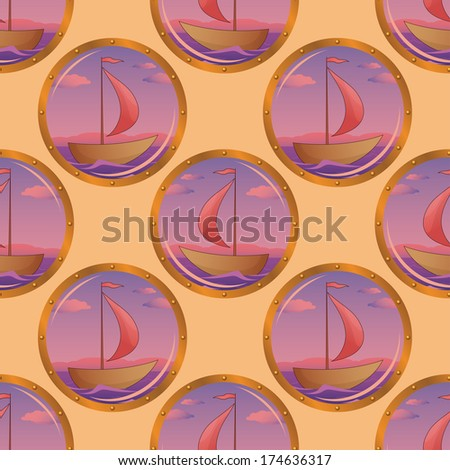 Seamless background, portholes with the ships floating on the sea. Vector - stock vector