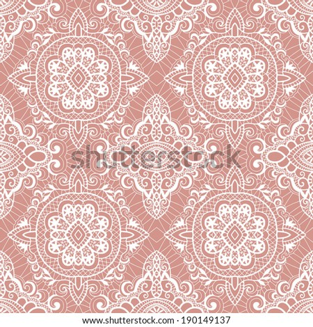 Seamless background, retro floral and geometric ornament, vector lace pattern, abstract decoration - stock vector