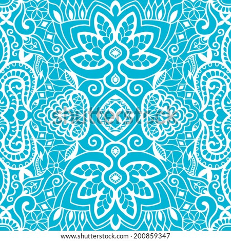 Seamless background, retro floral and geometric ornament, vector lace pattern, abstract ethnic decoration - stock vector