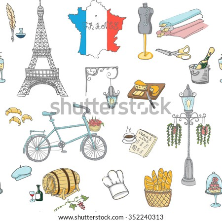 Seamless background set of hand drawn French icons, Paris sketch illustration, doodle elements Isolated national elements Vector Travel to France icons for cards and web pages Paris symbols collection - stock vector