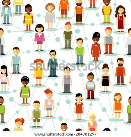 Seamless background social network concept of people communication in flat style - stock vector
