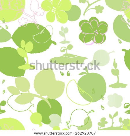 Seamless background symbolizing summer: sprouts, flowers, fruit and leaves on a white background in shades of green - stock vector