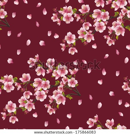 Seamless background texture with branch of cherry tree. Beautiful vector background with Japanese cherry tree sakura blossom. Elegant floral seamless pattern.  - stock vector