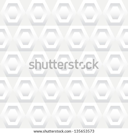 Seamless background tile with a pattern of white inset hexagons. - stock vector