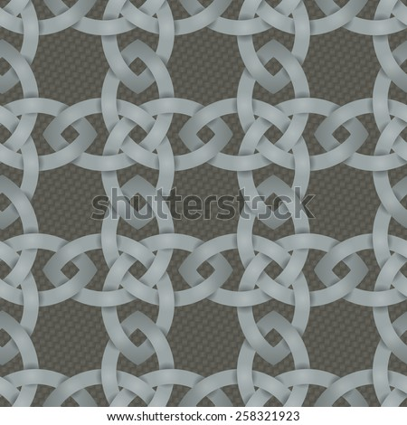 Seamless background tile with an intertwining Celtic Knotwork pattern over a basketweave style backdrop.  - stock vector