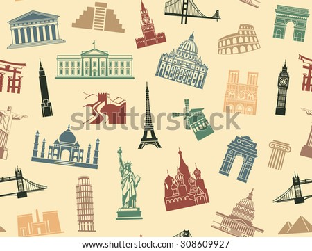 Seamless background tourist attractions - stock vector