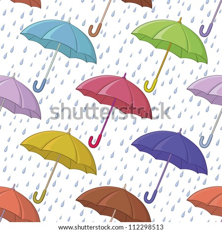 Seamless background, various colorful umbrellas and blue rain drops on white. Vector - stock vector