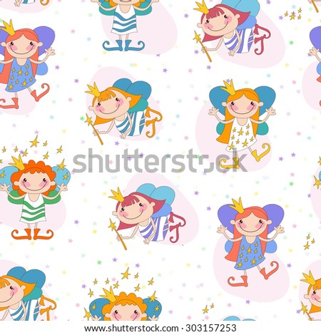 Seamless background vector illustration girls fairies on a white background with coloured stars. - stock vector