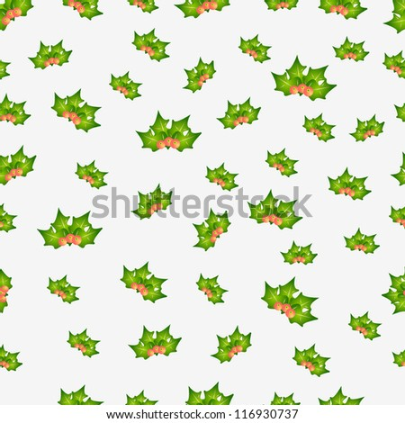 Seamless background vector new year, christmas mistletoe - stock vector