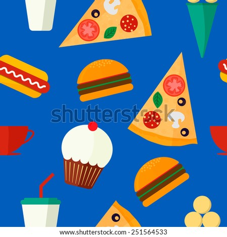 Seamless background vector pattern with fast food: burger, muffin, hot dog, pizza, ice cream and drink on blue background. Vector illustration. Flat design. - stock vector
