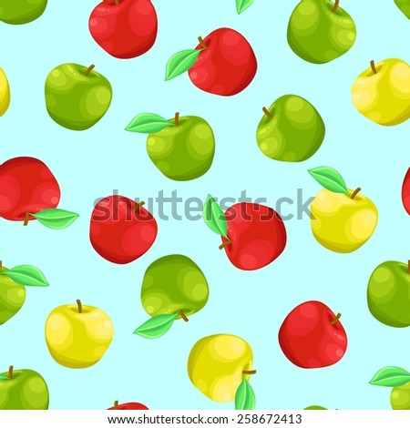 Seamless background with a pattern of delicious fresh ripe yellow, red, green apples with leaves - stock vector