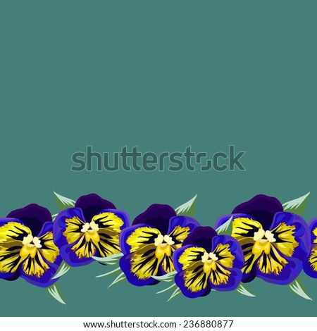 Seamless background with a pattern of purple, yellow pansies - stock vector