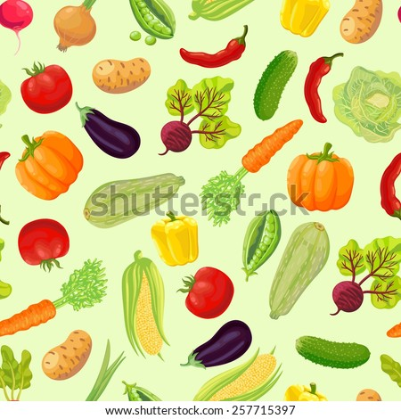 Seamless background with a pattern of ripe vegetables from the garden. Carrot, cabbage, green peas, peppers, chili, pumpkin, zucchini, radish, corn, eggplant, tomato, onion, beet, cucumber, potato. - stock vector