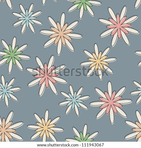 Seamless background with a retro flower pattern in pastel colours. - stock vector
