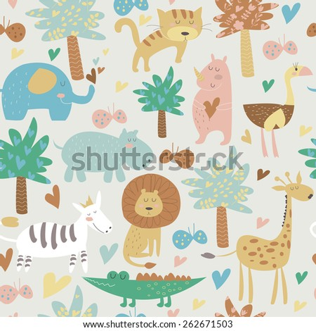 Seamless background with Africa animals. Cute tiger, alligator, lion, elephant, rhino, hippo, ostrich, palms, flowers, butterflies  and zebra in cartoon style. - stock vector