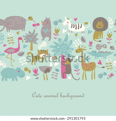 Seamless background with Africa animals. Cute tiger, alligator, lion, elephant, rhio, hippo, ostrich, monkey, flamingo, palms, flowers, butterflies  and zebra in cartoon style. - stock vector