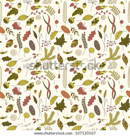 Seamless background with autumn leaves #1 - stock vector