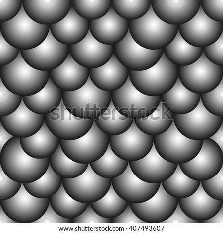 Seamless background with blue grey bubbles. Stylized atom structure - stock vector