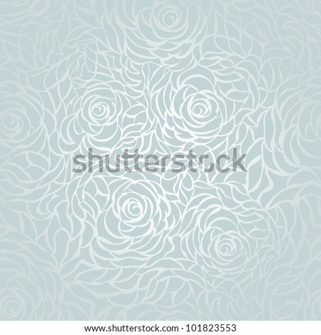 Seamless background with blue roses - stock vector