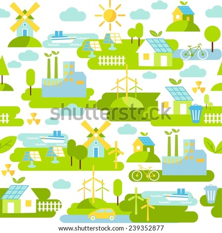 Seamless background with buildings, transport and nature ecology elements in flat style. Seamless background with panoramic landscape and ecology concept  - stock vector