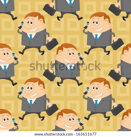 Seamless background with businessmans with a suitcases and mobile phone, cartoon characters with abstract yellow pattern. Vector - stock vector