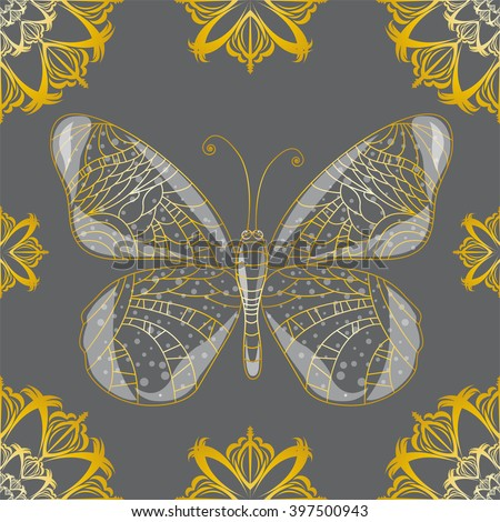 Seamless background with butterfly. - stock vector