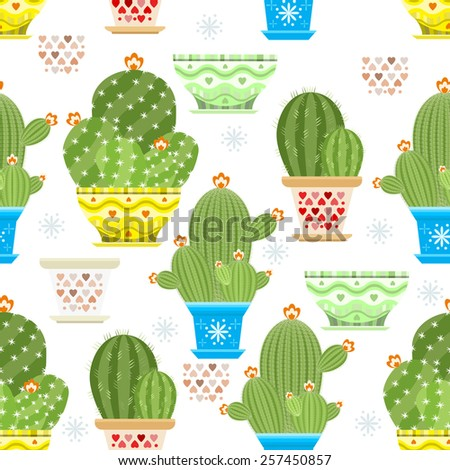 Seamless background with cacti. Great cactus design flower shop, Wallpaper, wrapping paper. Set illustration of cactus vector - stock vector