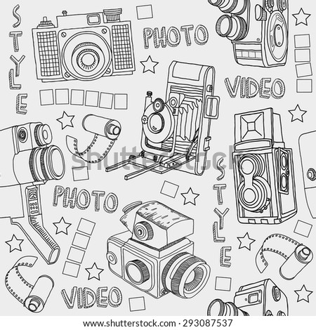 seamless background with cameras - stock vector