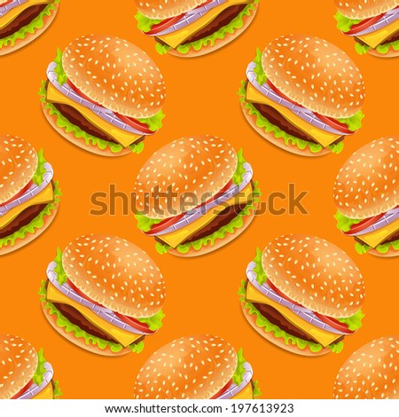 Seamless background with cartoon style hamburgers - stock vector