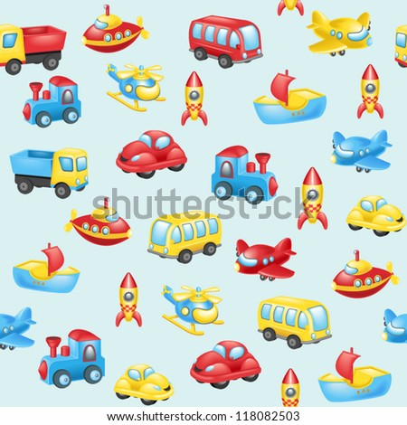 Seamless background with cartoon transport - stock vector
