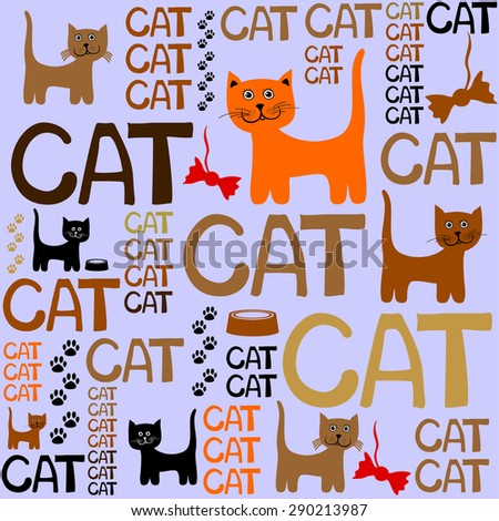Seamless background with cats. Vector Illustration - stock vector