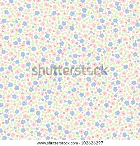 Seamless background with children in small florets - stock vector