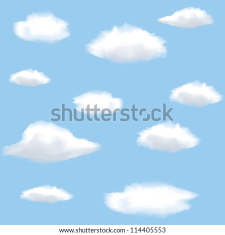 Seamless background with clouds on sky. - stock vector