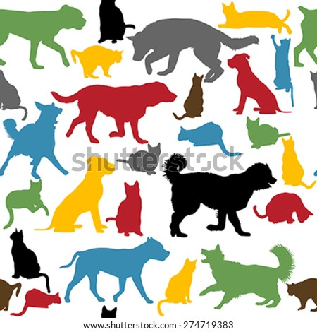 Seamless background with colorful cats and dogs silhouettes - stock vector
