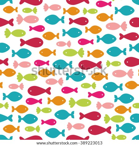 Seamless background with colorful fishes - stock vector