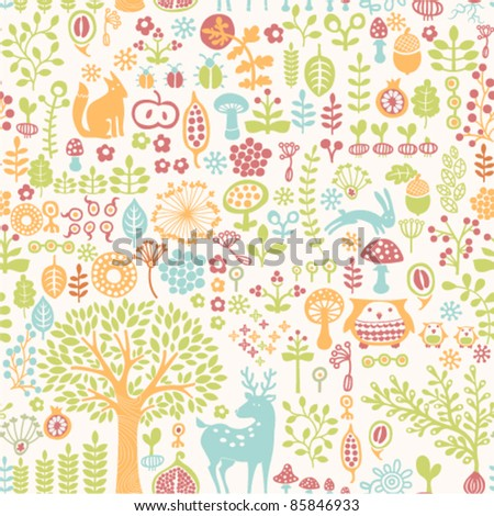 seamless background with colorful forest ornament - stock vector