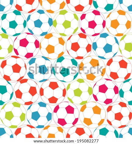 Seamless background with colorful soccer ball. - stock vector