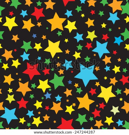 seamless background with colorful stars - stock vector
