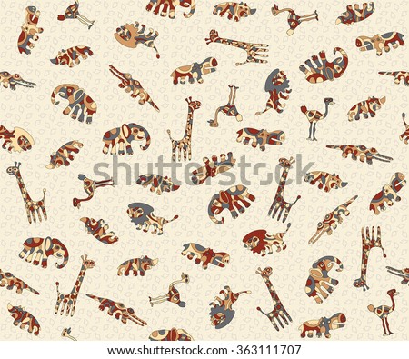Seamless background with colorful stylized animals Africa. A sample of fabric, wrap or wallpaper. For the convenience of editing the image elements are in different layers.  - stock vector