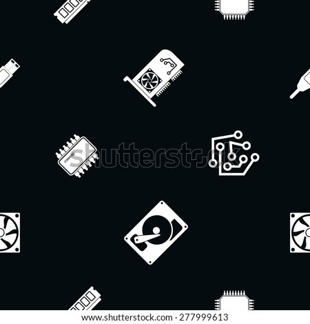 Seamless background with computer hardware and components for your design - stock vector