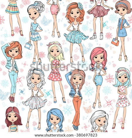 Seamless background with cute beautiful fashionable hipster girl in summer dresses, jackets and skirts.  - stock vector