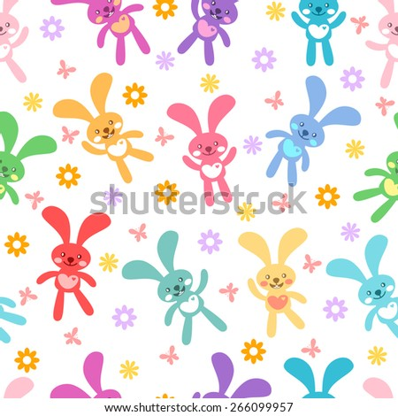 Seamless background with cute bunnies,flowers and butterflies - stock vector